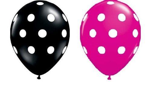 Uteruik Globos de lunares de 27,9 cm, color negro y rosa con estampado de puntos blancos, 25 unidades