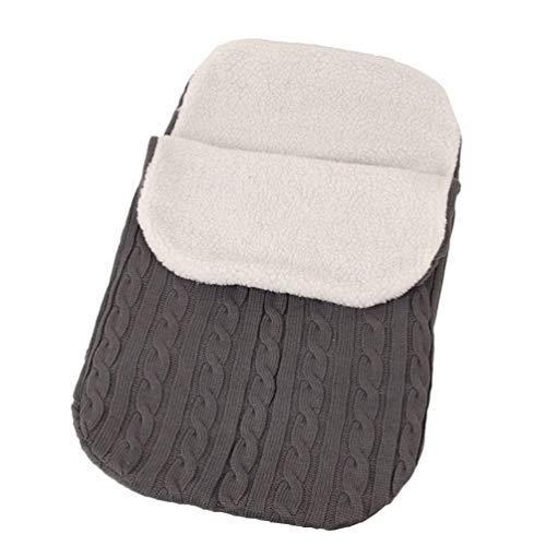 STOBOK saco de dormir para bebés bolsa de empavesado silla de paseo infantil tejer saco para niños manta de cama para niños cálida espesar invierno al aire libre envolver envolver swaddle gris oscuro