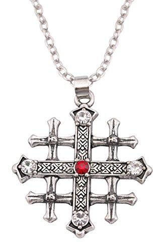 Collar con colgante de cruz medieval de Jerusalén con cruz de cristal rojo, joyería retro cristiana (cadena de eslabones)
