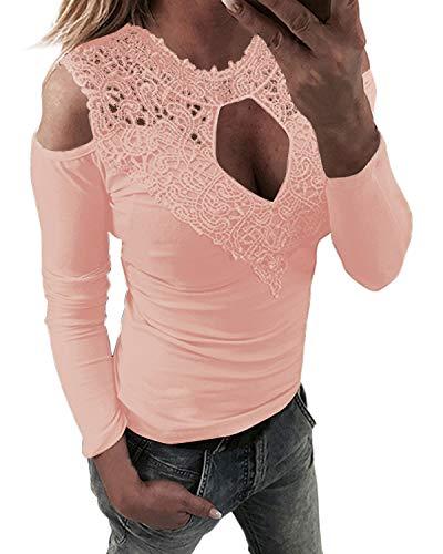 YOINS Femmes Tee-Shirt Sexy Haut Épaules Dénudées Tops Moulante Dentelle Manches Longues Mode Shirt Sexy-Rose S