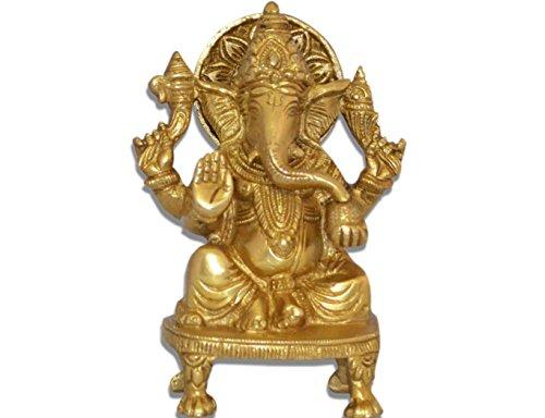 Ganesh, Ganpati, estatua de bronce escultura religiosa hecha a mano indio de Ganesha, mirada antigua Escultura de bronce sólido artefacto, decoración Vintage, colección valiosa, latón, hecho a mano regalo religioso, decoración casera Medidas Altura 13,97 cm y pesa (1 kg)
