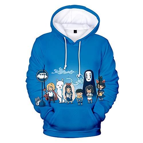 Dsti Sudadera con Capucha Unisex Spirited Away Hombre Outdoor Ropa Hoodie Suéter 3D Cosplay Manga Larga Sweater Moda con Bolsillo De Canguro,XS