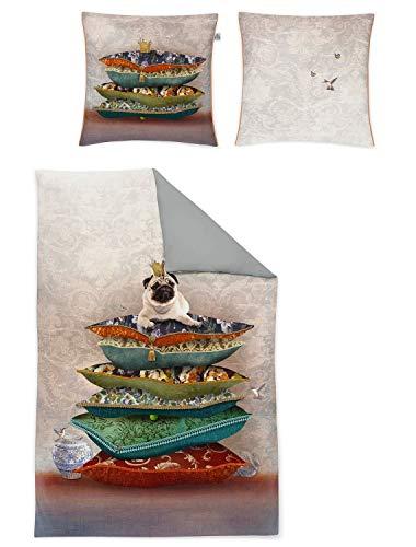 Irisette Mako-Satin Bettwäsche Juwel K Mops 1 Bettbezug 155 x 220 cm + 1 Kissenbezug 80 x 80 cm