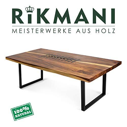 Rikmani Esstisch Holz Tisch Baumkante Schreibtisch Massivholz mit Metall Vollholztisch Knight (250 x 100 cm)