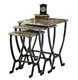 Hillsdale Furniture Monaco Metal Nesting Tables, Marble with Matte Espresso