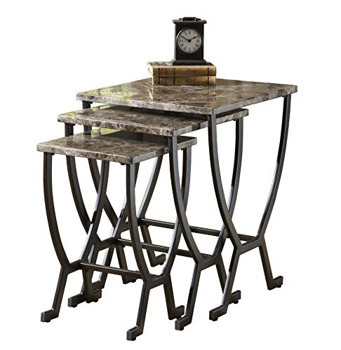 Hillsdale Monaco Metal Nesting Tables, Marble with Matte Espresso