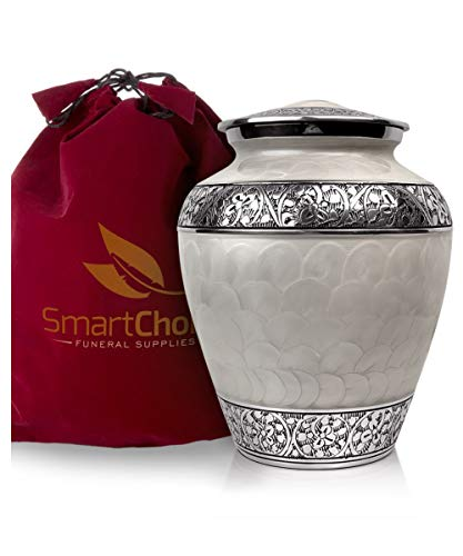 SmartChoice Cremation Urns for Human Ashes Adult - Handcrafted Funeral Memorial Ashes Urn Royal White Cremation Urn (White)