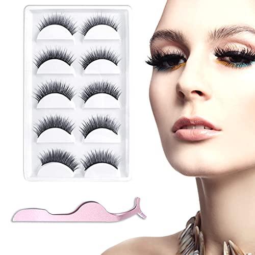 Ealicere Falsche Wimpern 5 Paare,Wiederverwendbare natürliche Wimpern mit Wimpernpinzette,3D Künstliche Wimpern Set