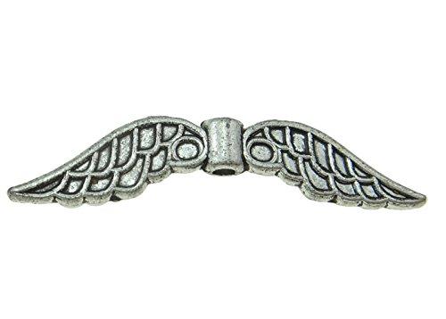 10perlas de metal en forma de alas de ángel, 30mm, diseño en plata antigua (M443)