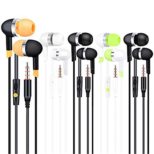 YFSFQS Earbuds Headphones with Microphone Stereo Earbuds Bass Earphones with Mic 3.5mm Plug Compatible Multiple Audio Devices