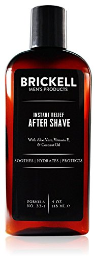 Brickell Mens Instant Relief Aftershave for Men, Natural and Organic Soothing After Shave Balm to Prevent Razor Burn, 4 Ounce, Unscented