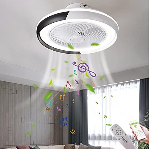 Fläkt taklampa med Bluetooth-musik LED takfläkt med ljus med fjärrkontroll Fläkt taklampa Osynlig fläktlampa Inomhus takfläkt med belysning, timer, Ø50CM,Black