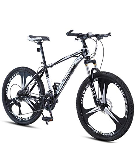 DGAGD 24 inch Mountain Bike Male and Female Adult Variable Speed Racing Ultra-Light Bicycle Three-Knife Wheel-Black and White_24 Speed