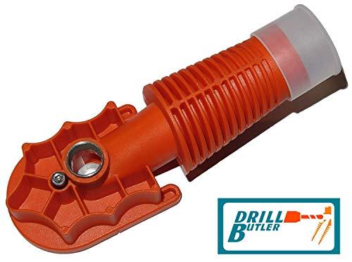 DRILLBUTLER - Die Bohrlehre mit integrierter Bohrstaubabsaugung und verstellbarer Führungsplatte aus rostfreiem Stahl (für Bohrdurchmesser von 4, 5, 6, 8 und 10 mm)