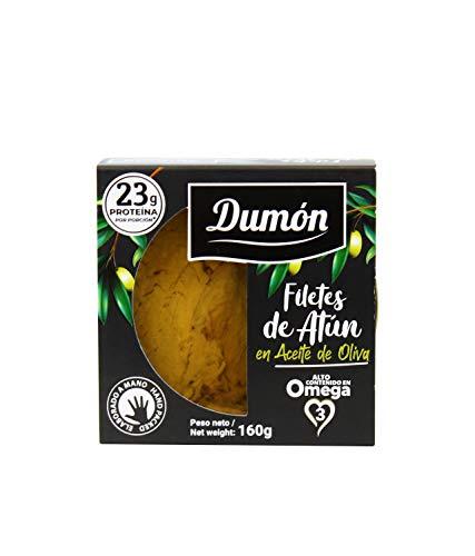 Dumon - 15 Unità da 160 gr di Filetti di Tonno in Scatola in Olio di Oliva, Coperchio Trasparente Esclusivo con Apri Facile, Pesce in Scatola Ricco di Proteine e Omega 3.