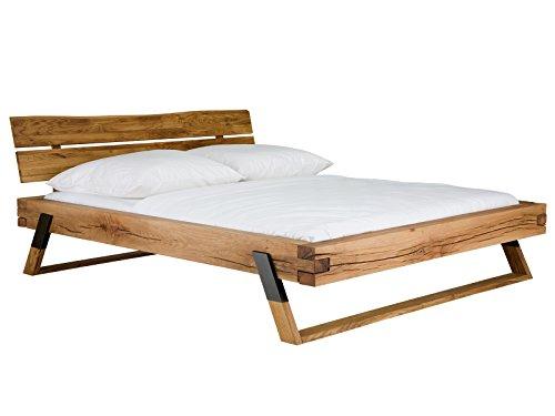 massivum Bett Malta 180x200 Fuß schwarz Wildeiche geölt, Holz - Eiche, honighell, 225 x 200 x 86 cm