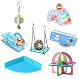 BK Fudid Hamster Chew Toys, Hamster Exercise Wheel Guinea Pigs Toys Hamster Accessories Wood Hamster Houses
