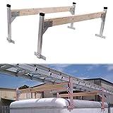 tiewards Adjustable Aluminum Roof Ladder Rack Bracket Kit with 2x4 Lumbers for Open or Enclosed Trailers Trucks/Cargo Vans