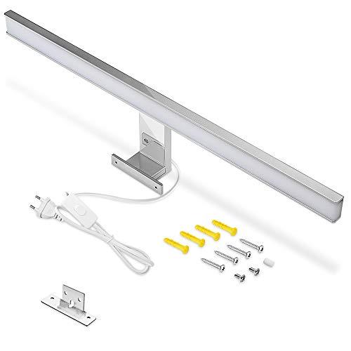 Lampada a LED per specchio da bagno, 60 cm, IP44, luce bianca fredda, 6000 K, per bagno, 10 W, 900 lm, con interruttore, per il bagno