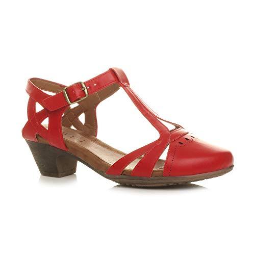 Damen Mitte Blockabsatz T-Riemen Ausgeschnitten Brogues Pumps Sandalen Größe 6 39