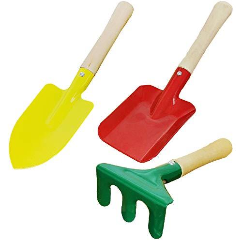Land-Haus-Shop® kindertuingereedschap kleuterschool apparatuur 1 van 8 kinderen tuin gereedschap schep, bezem, hark, bladeren, hark, rubber, dubbele hak, spade metaal met houten steel Set Klein