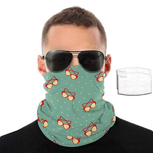 Gcaibai Oval Art Gafas de Sol Vintage Paño Verde Bufanda Sombreros Pasamontañas Máscaras Pañuelo Polaina con 2 filtros