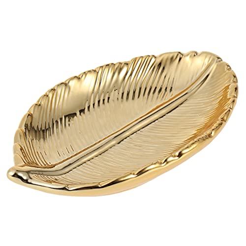 VICASKY Plato de Joyería de Hoja Plato de Baratija de Oro Decorativo Collar de Cerámica Pulsera Soporte de Cuenco de Pendiente Organizador de Exhibición de Artículos Diversos de Joyería