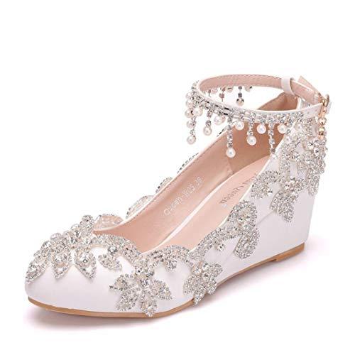 Primavera Mujer Zapatos De Cuña De Cristal Plataforma Rhinestone Punta Redonda Tacones...