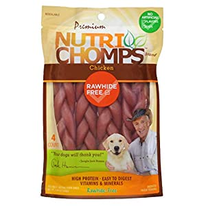 NutriChomps Dog Chews, 6-inch Braids, Easy to Digest, Rawhide-Free Dog Treats, Healthy, 4 Count, Real Chicken flavor