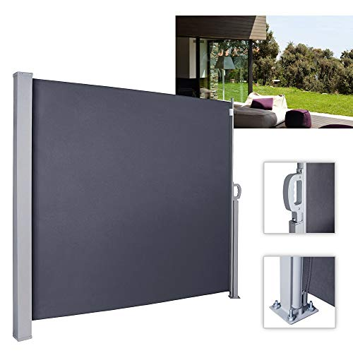 wolketon Seitenmarkise Anthrazit TÜV,geprüft UV,Reißfestigkeit,seitlicher Sichtschutz sichtschutz,für Balkon Terrasse ausziehbare markise (160 x 300 cm Anthrazit)