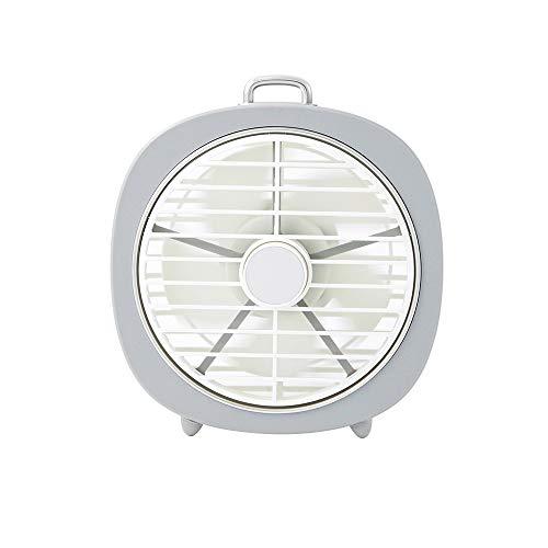 Jia Mini Ventilatore Muto Retro ventoso Coperchio Girevole USB Camera da Letto da Tavolo a LED Night Light 2 in1 Freddo (Colore : Gray)