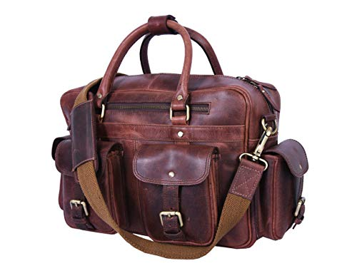 15.5' Leather Briefcase Messenger Bag for Laptop by Aaron Leather (Walnut)