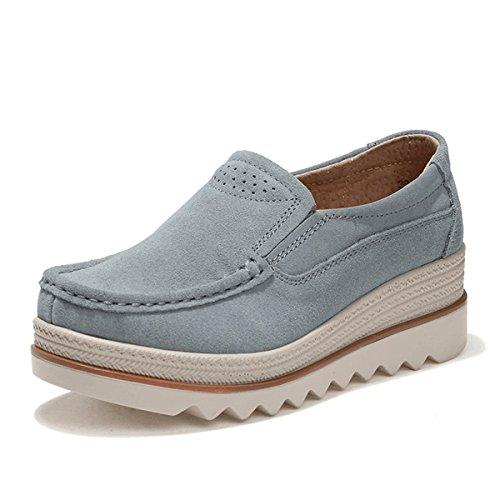 Gracosy Mocasines Cómodos Mujeres Zapatos de Cuña de Cuero de Gamuza Suave Toning Rocker Plataforma Oculta Cuñas Talón Zapatillas de Deporte Casual Zapatos Mocasines de Moda Zapatos de Conducc