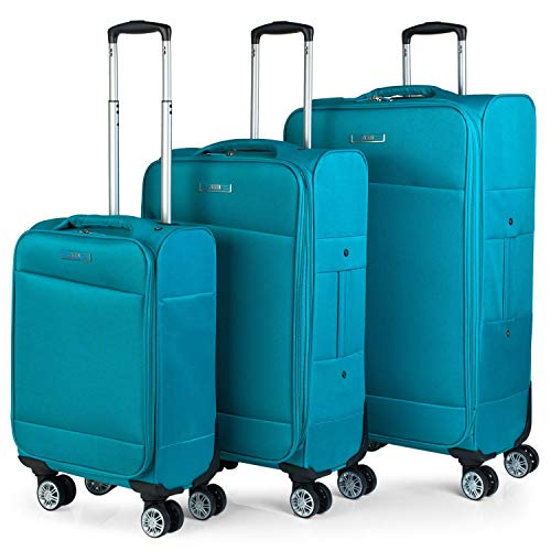 JASLEN - 3er Kofferset Erweiterbar 54/67/78 cm Eva-Polyester. 4 Rollen. Steif, widerstandsfähig und leicht. Kleine Koffer genehmigt für Ryanair, mittlere und...