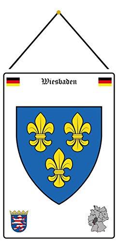 FS Stadt Wiesbaden Wappen Straßen Blechschild Schild gewölbt Metal Sign 20 x 30 cm mit Kordel