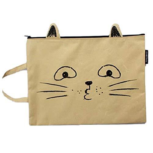 DaoDai File Bag Zipper Canvas File Bag Information Bag Pencil Case Messenger Cute Cat File Bag IPad Handbag Storage for Holiday and Office (Yellow)