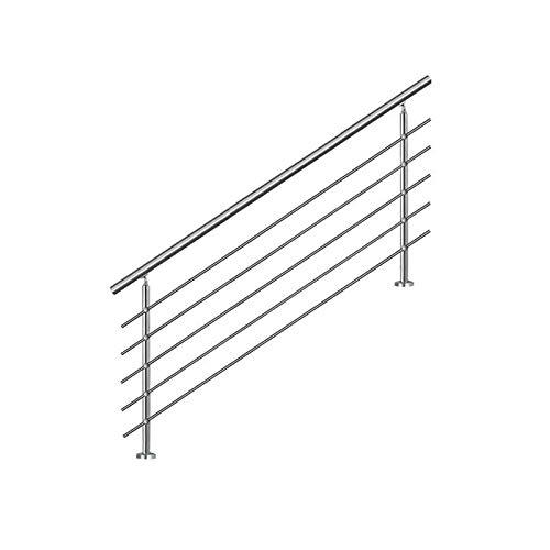 Bc-elec - AHM1805 Treppenhandlauf 180cm, Balkon, Balustrade, Edelstahlgeländer mit 5 Querstäben, Flache oder geneigte Montage