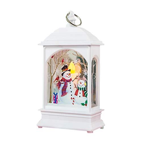 Weihnachtsdeko,Iwähle Vintage Kleine Öllampe LED Laterne mit Eingebauten Battrien,Tragbare Teelicht Simuliert Kerzen Flammelos mit Schneemänner, Weihnachten Atmosphäre Beleuchtung Dekoration (Weiß)