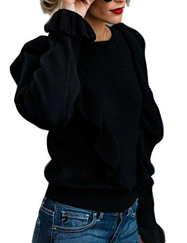 HAEMMA Dames Fashion Pullover Elegant gebreide jas Volant Flouncing Trompet mouwen ronde hals Fijn Falbala lange mouwen Sweater