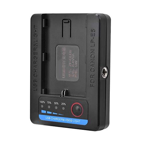 CUTULAMO Cargador USB, Luz De Relleno LED Fácil De Cargar con Luz Indicadora De Cantidad Eléctrica para Batería LP-E6
