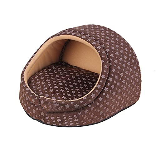 JLKDF Brown Dog Bed Detachable and Washable Flannel Warm Sofa for Puppy and Cats Small