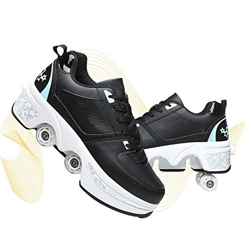 NNZZY Roller Skates 2 in 1 Inline Skate Multi Sports Shoes with Four Detachable Tires Anti Slip Adult Casual Shoes Pulley Ice Skates Shoes,Black Blue,26.5~27cm/40