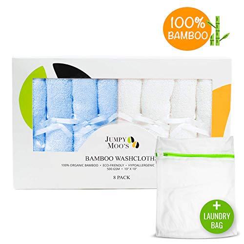 Ökologische Waschlappen Baby (inkl. Wäschesack) | 100{9601640e44bcf4773df9dcc7b5dcfde6c2aa8ff3e0ec8c20a1a99cbbfa6ec9be} Bambus, hypoallergen, antibakteriell & natürlicher UV-Schutz | Perfektes Geschenke-Set für Baby Shower Mädchen & Jungen (Blau & Weiß, 8er Pack)