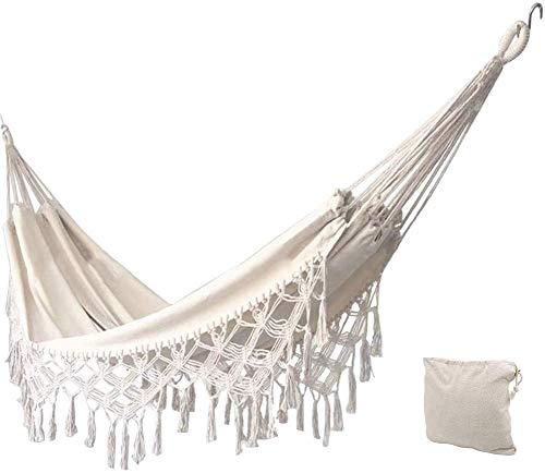 KEREITH Hängematte für den Garten, aus Baumwolle, weich, Camping, mit Rucksack, ideal für Terrasse (Roh, max. 450 kg)