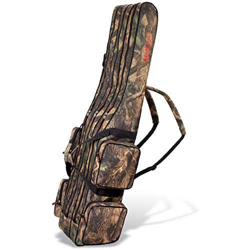 Angel Tasche Futteral Rutentasche Fishing Rucksack - Camouflage 3 Innenfächer - 125 cm