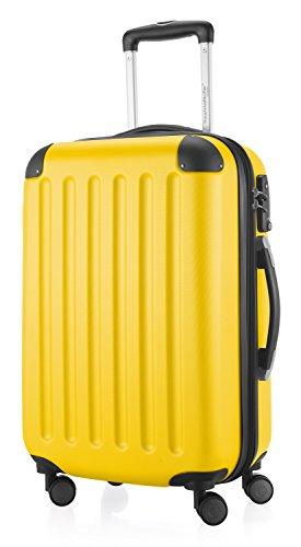 HAUPTSTADTKOFFER - Spree - Handgepäck Hartschalen-Koffer Trolley Rollkoffer Reisekoffer Erweiterbar, TSA, 4 Rollen, 55 cm, 42 Liter, Gelb