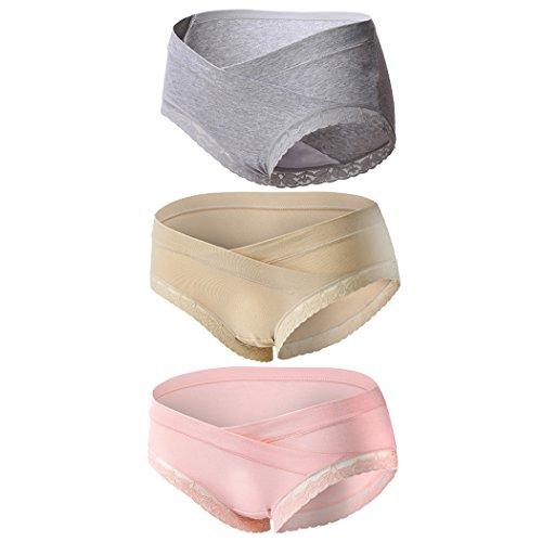 Topwhere Chwangerschafts-Unterwäsche Damen Umstandsmode Slip Unterwäsche - Baumwolle - Spitze 3 Packs (L/DE 36-38, Grey+Nude+Pink/3Pack)