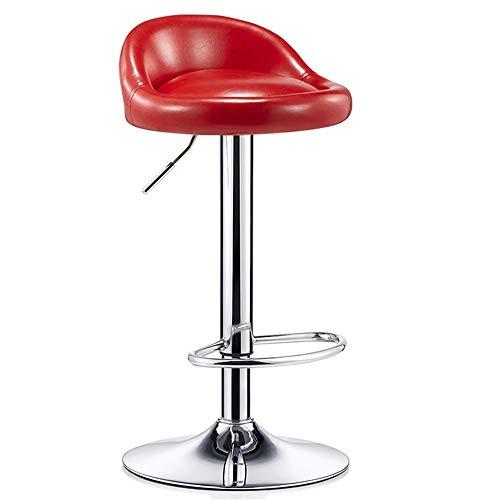 WHOJA Taburete de Bar Asiento Redondo de PU Altura Ajustable Respaldo Silla de Comedor giratoria Mueble Bar Altura de elevación 60-80cm Peso del rodamiento 150kg Silla de Comedor (Color : Red)