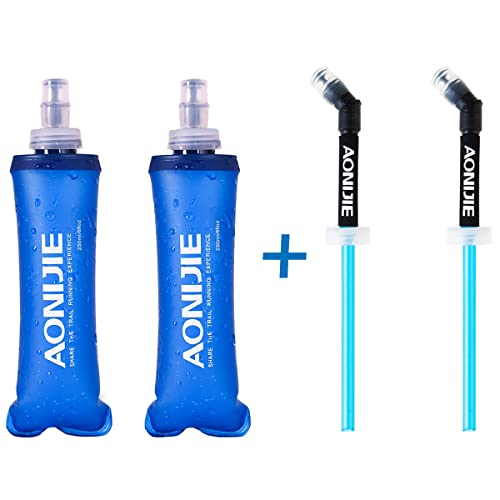 Azarxis Gourde Souple Running 250ml Flasque Souple Bouteille d'eau Pliable Réservoir en TPU pour Sac d'Hydratation Randonnée Marathon (250ml avec Paille - 2 Pièces)