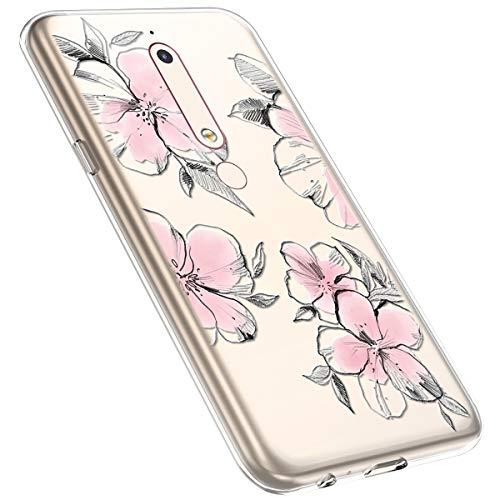 MoreChioce kompatibel mit Nokia 6.1 2018 Hülle,Nokia 6.1 2018 Handyhülle Blume,Ultra Dünn Transparent Silikon Schutzhülle Clear Crystal Rückschale Tasche Defender Bumper,Blumenzweig #28